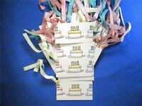 25 Hand Painted Birthday Cake Tags With Dyed Ribbon With Print On Back