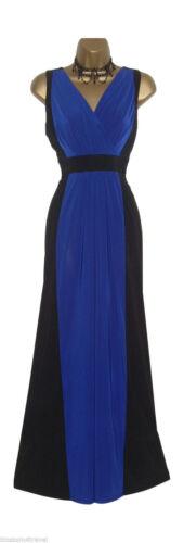 Long Black//Blue Colour Block Grecian Maxi Evening Dress Casual//Party//Cruise
