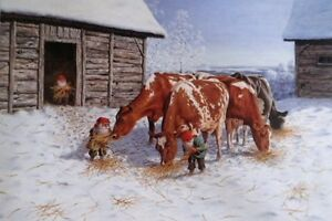 Weihnachtskarte GOD JUL SCHWEDEN Wichtel Kühe Bauernhof Postkarte Ansichtskarte Motive Sammeln & Seltenes
