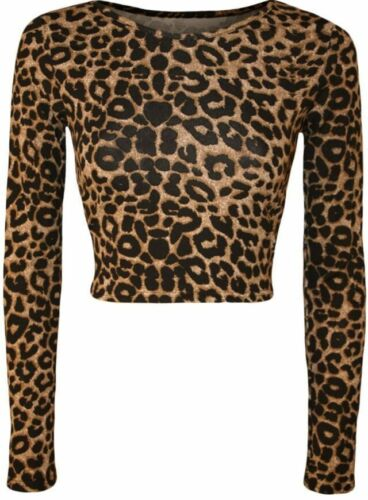 New Womens Aztec Animal Print Crop Top Ladies Leopard Long Sleeve Short 8-14