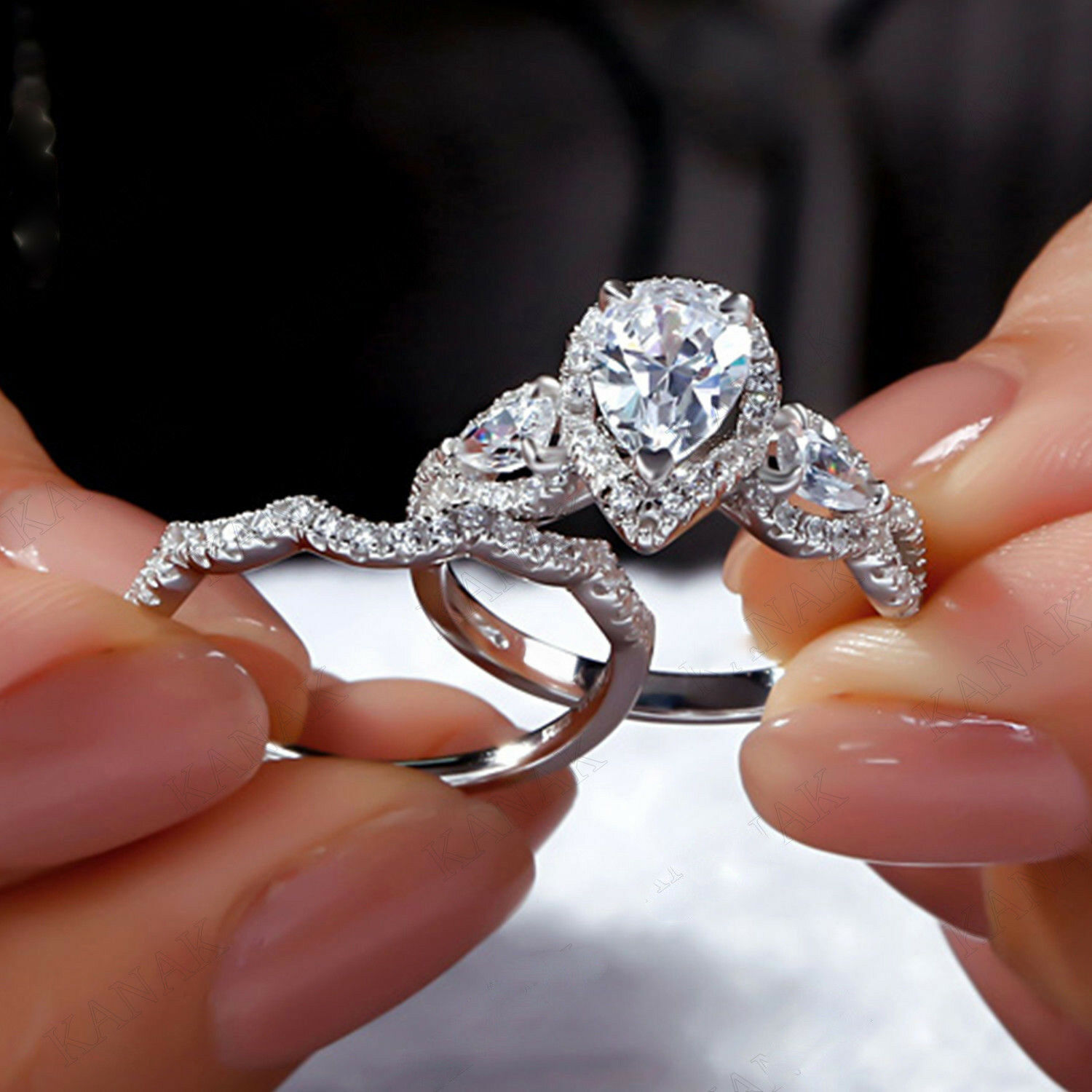 Certified 3.20ct Pear Shape Diamond 14k White gold Bridal Set Engagement Ring