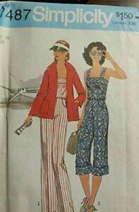 Simplicity-Sewing-Pattern-7487-Miss-Jumpsuit-Jacket-Size-10-Vintage-1976