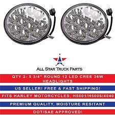 """Pair 5 3/4"""" HID Round CREE LED Spot Headlight Work Lamp Offroad Truck Fit Harley"""