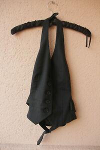 Schwarze-Neckholder-Weste-mit-schwarzen-Nadelstreifen-von-H-amp-M-Groesse-34
