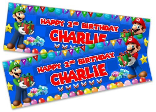 x2 Personalised Birthday Banner Super Mario Children Kids Party Decoration 6