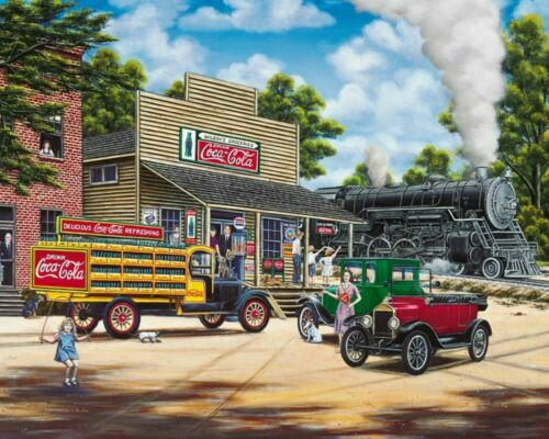 Trains Coca Cola All Aboard Train Station Paint By Numbers Kit Painting