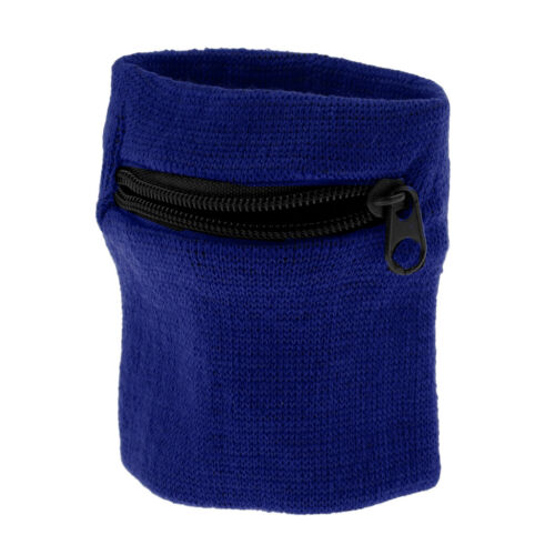 Sport Fitness Armband Schweißband Geldbörse Reißverschlusstasche Königsblau