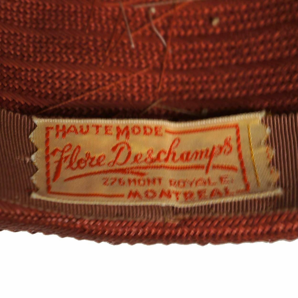 Vintage 1940s Red Straw Hat Wide Brim Flower Deco… - image 5