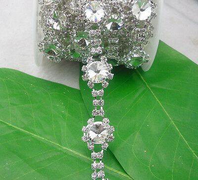 14mm Mix glass crystal rhinestone close silverclaw cup trim chain Applique 1Yard