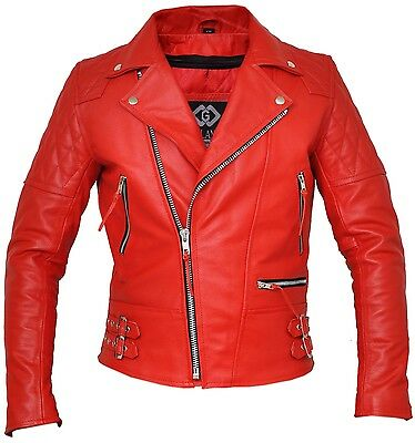Classic Diamond Bright Red Armoured Motorcycle Biker Leather Jacket