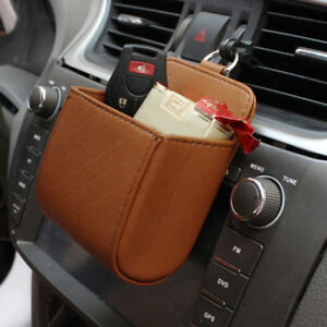 Car-Air-Outlet-Leather-Phone-Holder-Bag-Pocket-Storage-Box-Air-Vent-Pouch-PU-UK