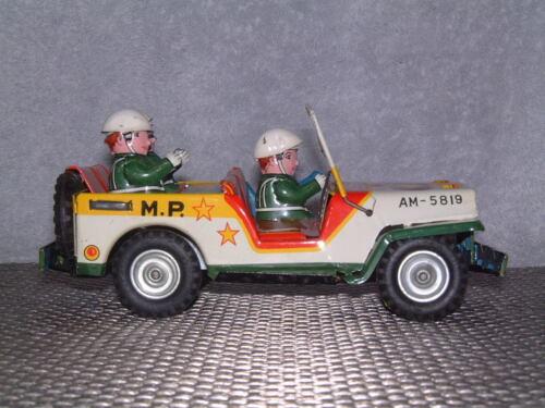 Alle Artikel in Elektrisches Spielzeug VINTAGE MITSUHASHI MILITARY POLICE TIN FRICTION DRIVEN JEEP W/BOX! RARE