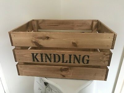 Liberaal Large Wooden Vintage Style Kindling Firewood Log Storage Box Crate Ideal Gift 100% Hoogwaardige Materialen