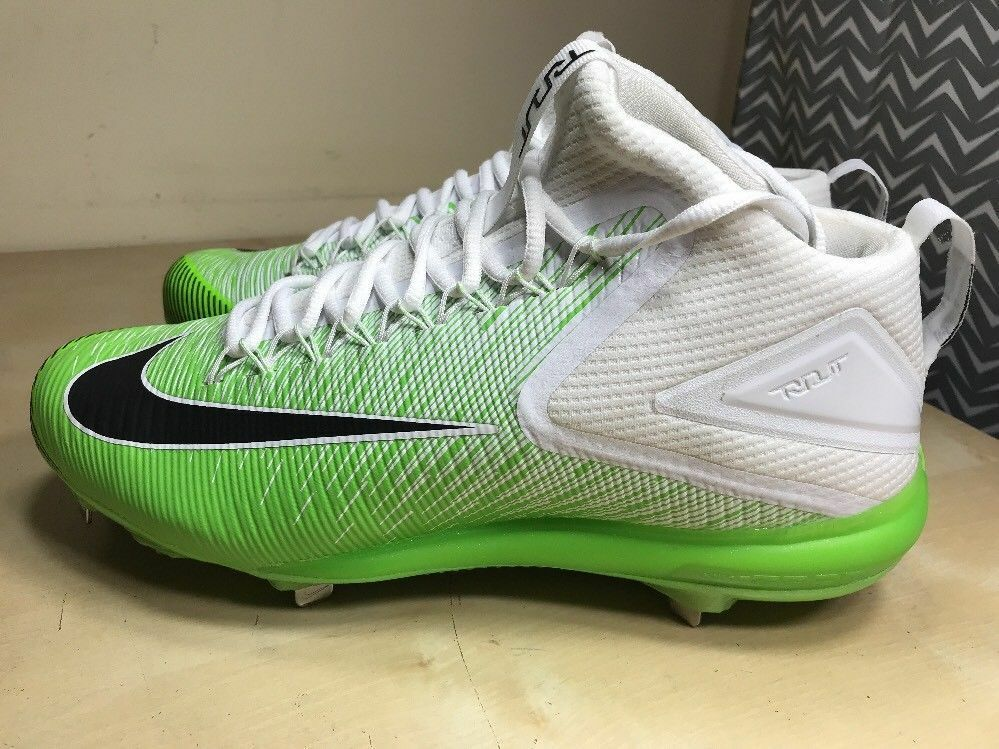 NIKE ZOOM TROUT 3 ASG BASEBALL CLEATS SIZE 11 WHITE ELECTRIC GREEN 844627-103