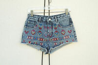 TOPSHOP MOTO Hot Mini Denim Short Shorts Embroidered Tibal High Rise Size 6