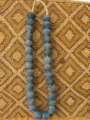 Super Jumbo Dark Aqua Recycled Glass Beads 35mm Ghana African Sea Glass Blue