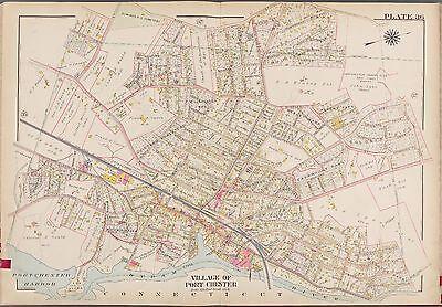 NEW ROCHELLE WESTCHESTER COUNTY NEW YORK DAISY FARM ATLAS MAP 1910 G.W BROMLEY