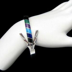 TAXCO-MEXICO-925-Vintage-Bangle-Bracelet-Mid-Century-Gemstones-Sterling-Silver
