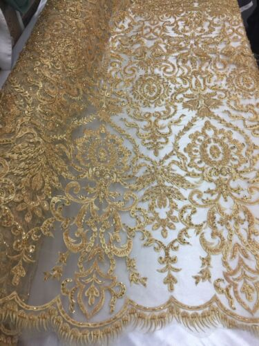 Embroidery on Polyester Mesh Wedding Dress Gold By The Yard Beaded Fabric
