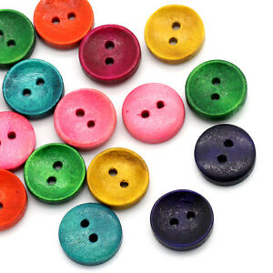 100PCS-Vintage-Wood-Sewing-Buttons-2-Holes-Round-Mixed-15mm-5-8-034-Dia