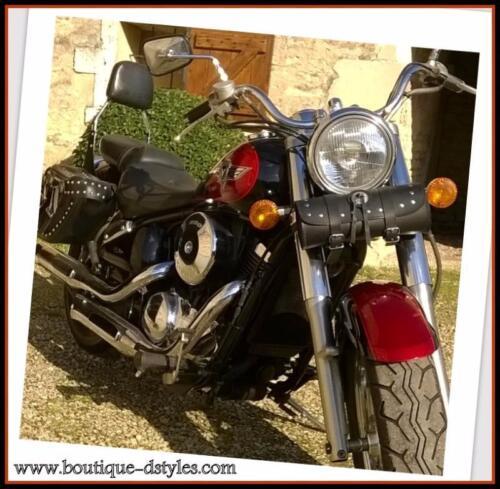 Sacoche sac trousse outil de fourche en Cuir Rond avec Clous  moto custom trike