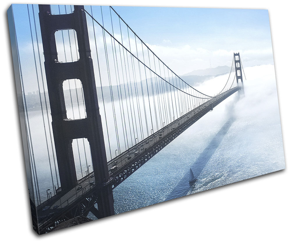 oroen Gate Bridge San Francisco Francisco Francisco City SINGLE TELA parete arte foto stampa 3fef02