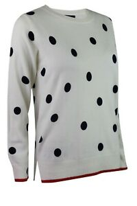 M-amp-S-Marks-Spencer-Collection-Womens-Ivory-Navy-Polka-Dot-Spot-Knitted-Jumper-Top