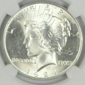 1-BU-1-1924-Peace-Silver-Dollar-Dripping-with-luster-Unc-MS-90-Bulk-amp-Save