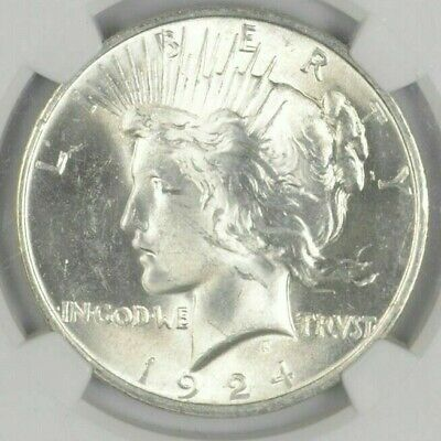 AU $1 1924 Peace Silver Dollars Dripping w luster Almost Unc 90/% Bulk /& Save 1
