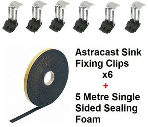 Kitchen Sink Fixing Kit Includes 6 x Clips & 5 Metre Sealing Foam ...
