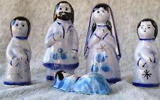 Porcelain Ceramic Nativity (Set of 5) Mexico Blue