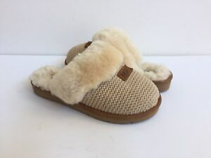 994918084ac Details about UGG COZY KNIT CREAM SHEARLING LINED SLIPPERS US 7 / EU 38 /  UK 5.5 NIB
