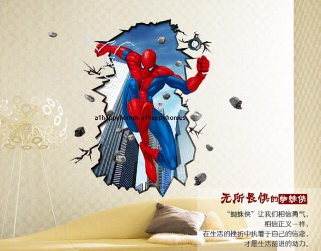 HUGE AMAZING SPIDERMAN Wall Stickers Boys Kids Bedroom Mural Art Wallpaper Decal