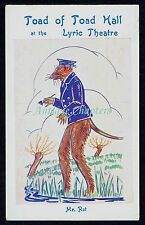 1929 Toad Of Toad Hall Mr Rat 1st Performed Lyric Theatre Mary Potter Postcard