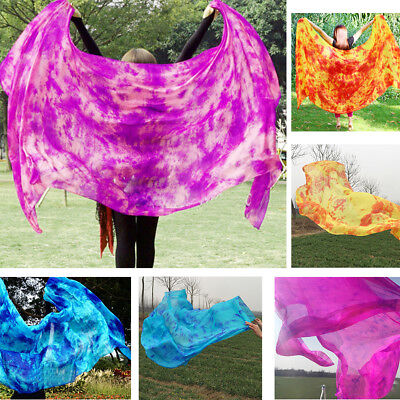 Vibrant Tie-dye Belly Dance Real Silk Veil Half Circle 2.5 x 1.14m Multicolor