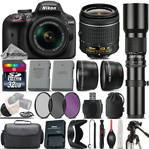 Details about Nikon D3400 DSLR Camera + Nikon 18-55mm VR Lens + 500mm  Telephoto Lens -32GB Kit