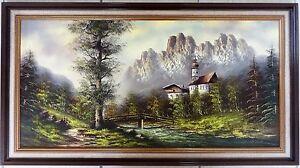 Altes-Landschaftsgemaelde-Ol-auf-Leinwand-034-Ramsau-034-von-Uhlmann-im-Zierrahmen