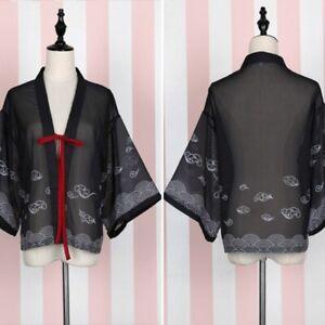 7526f555b56 Details about Women Kimono Cardigan Chiffon Japanese Yukata Coat Jacket  Blouse Chinese Black
