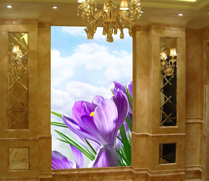 3D Purple Narcissus 1 Wall Paper Wall Print Decal Wall Deco Indoor Wall Murals