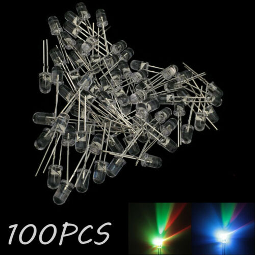 Diodo Led 100X 5MM colorido Urtal brillante Sombrero de Paja Lote RGB lento Flash Round Top