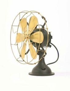 14-034-Blades-Electric-Table-Fan-Oscillating-Work-Vintage-Metal-Brass-Antique-style