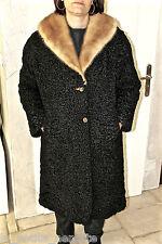 luxueux coat manteau en astrakan col fourrure vison doré MAURICE KATZ T 40/42