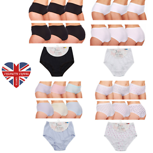 knickers Womens 100/% Cotton Pantees Briefs 3 Pair Pack Size 10-28 Ladies