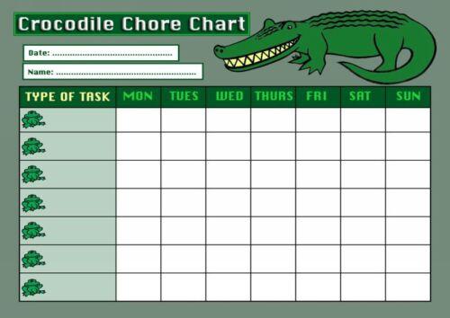 Weekly corvée Rota tâche récompense tableau crocodile