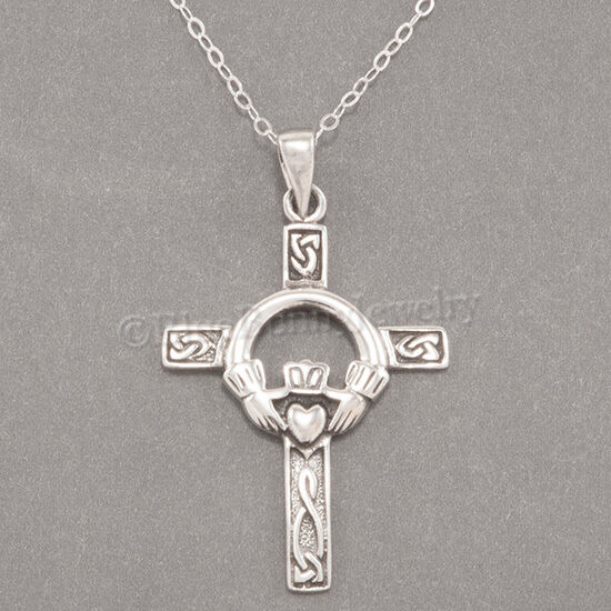 Solid 925 Sterling Silver Vintage Antiqued Celtic Knot Irish Claddagh Cross Brushed Matte Finish Pendant Charm 23mm x 14mm