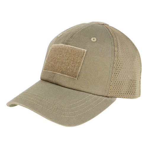 Condor Tactical Adjustable Mesh Baseball Cap Operator Hat Velcro Patches  Brown