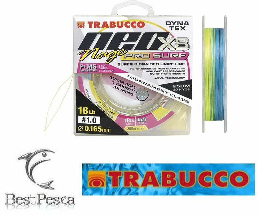TRABUCCO - NEO X8 NAGE PRO SURF - 250mt - Ø 0,084 - 8 LBS - multicolor