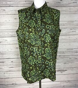 White-Stag-Women-039-s-Green-Brown-Floral-Button-Front-Sleeveless-Top-Size-XL