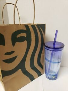 New-STARBUCKS-Glass-Tumbler-with-Blue-Swirl-Summer-2-Collection-18-oz-Cold-Cup