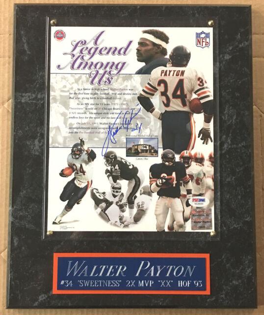 WALTER PAYTON DA BEARS AUTOGRAPHED SIGNED FRAMED 8X10 PHOTO-12X15 PLAQUE PSA/DNA
